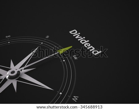 Conceptual 3D render image with a frameless Compass focus on the word Dividend - stock photo