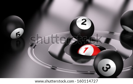 Conceptual 3D render image with depth of field blur effect. Red ball with the number one in the center of bullseye with black balls around the target. - stock photo