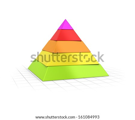 Conceptual 3D render of a Five layers pyramid over perspective background.  - stock photo