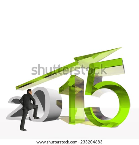Conceptual 3D 2015 year with growing arrow isolated on white background with business man, metaphor to economy, finance, corporate, growth, future, goal, progress, success, improvement, profit designs - stock photo