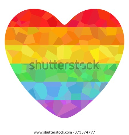 Conceptual decorative poster with LGBT support symbol. Colorful rainbow polygonal heart isolated on white background. Typography design element for posters, banners and prints devoted on LGBT theme. - stock photo