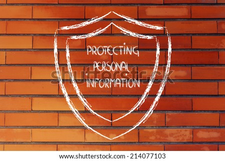 conceptual design of a shield for the security of data and personal information - stock photo