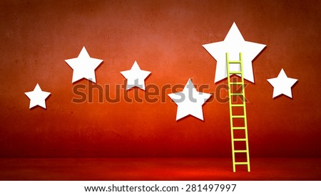 Conceptual designed image with ladder to stars - stock photo