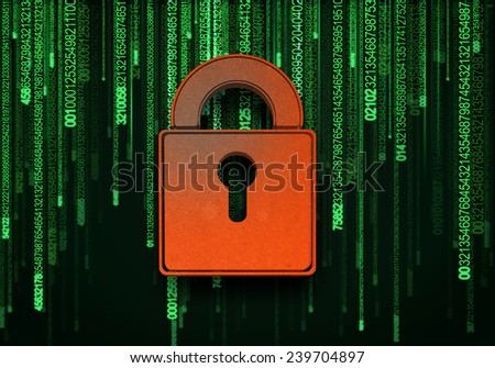 Conceptual digital image of lock on binary background - stock photo