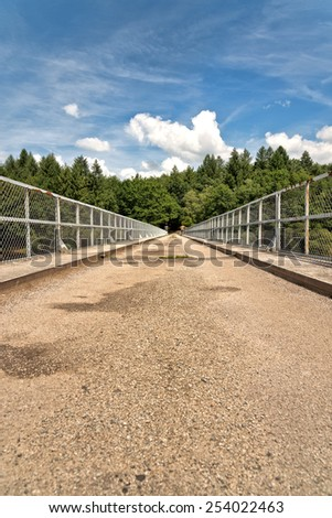 Conceptual Empty Textured Pathway with Screened Side Rails. Captured with Green Trees Afar on a Blue Sky Above. - stock photo