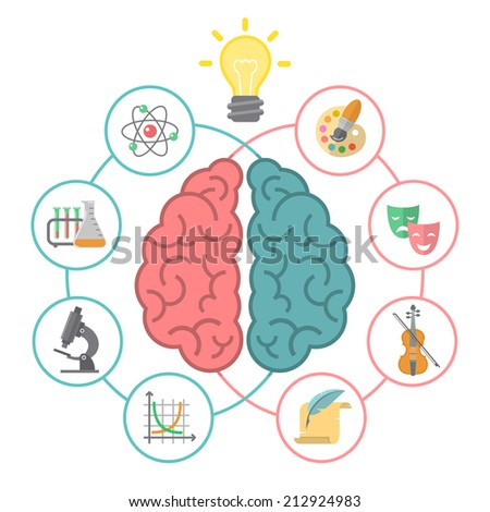 Conceptual flat illustration of left and right hemispheres of the brain and different icons of the logical and creative activities. - stock photo