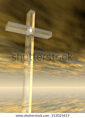 Conceptual glass cross or religion symbol silhouette on water landscape over a sunset or sunrise sky with sunlight clouds background for religion, faith, holiday, God, religious, Jesus belief designs - stock photo