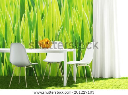 conceptual green kitchen with white furniture - stock photo