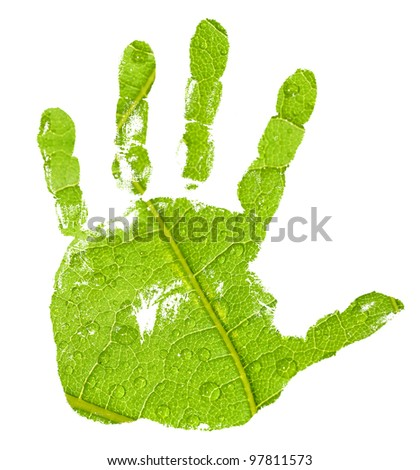 conceptual hand imprint on green leaf background - stock photo