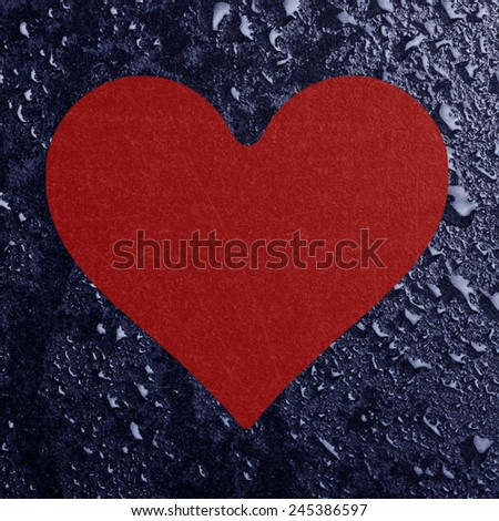Conceptual heart and water drops - stock photo