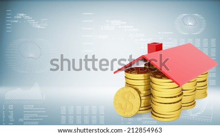 Conceptual house made from coins - stock photo