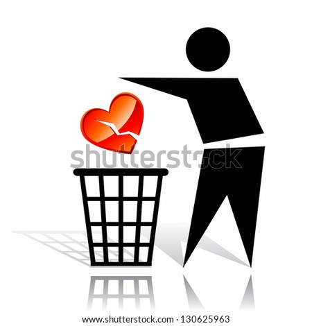 Conceptual icon with recycling sign and broken heart. Raster version. Vector is also available in my gallery - stock photo