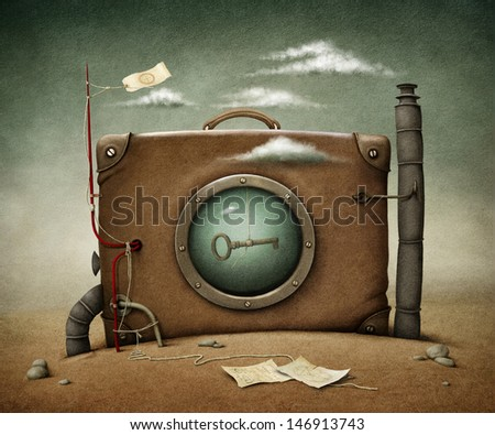 Conceptual illustration  lone suitcase in desert.  - stock photo