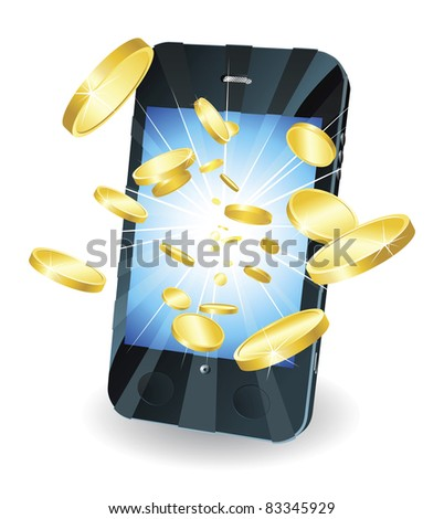 Conceptual illustration. Money in form of gold coins flying out of new style smart mobile phone. - stock photo