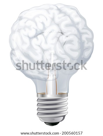 Conceptual illustration of a light bulb shaped like a human brain. Concept for ideas inspiration or similar - stock photo