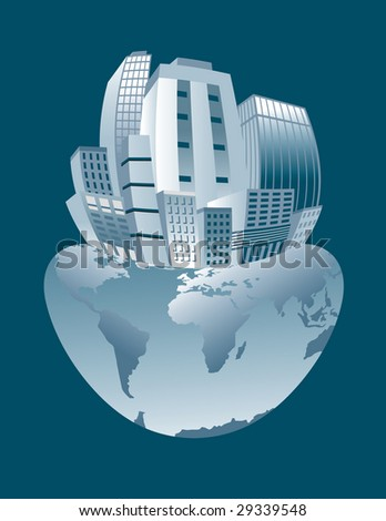 Conceptual illustration of city overpopulation stressing the Earth. - stock photo