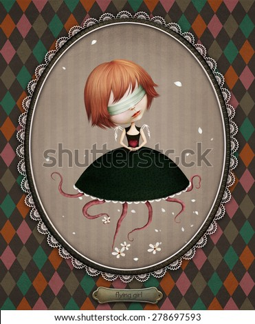Conceptual illustration of  Flying girl  - stock photo