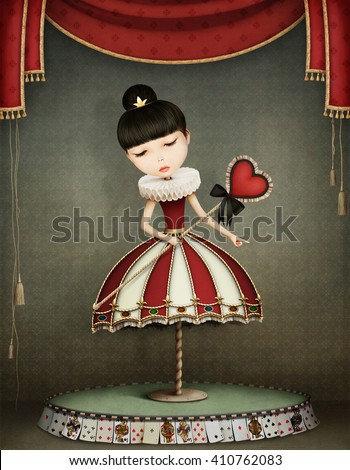 Conceptual illustration of girl with fairy queen with  carousel - stock photo
