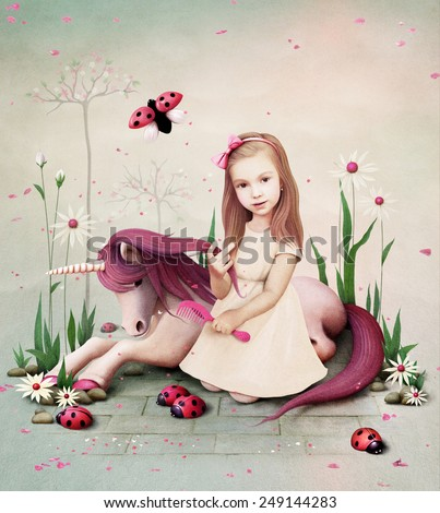Conceptual illustration of  little girl and pony unicorn - stock photo