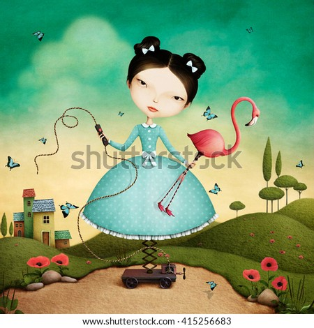 Conceptual illustration of  mechanical girl and flamingos - stock photo