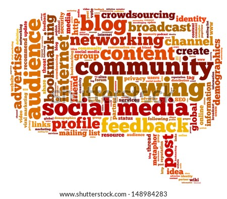 Conceptual illustration of tag cloud containing words related to social media, marketing, blogs, social networks and Internet in the shape of the callout, pointing right. Vector also available. - stock photo