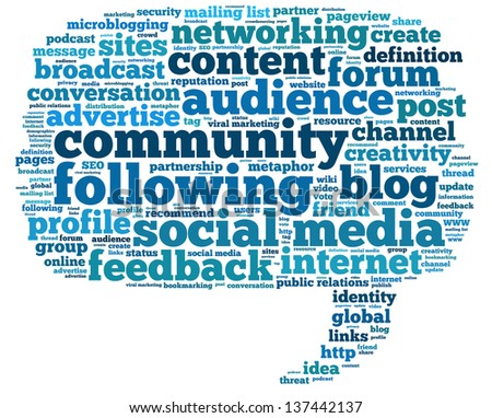 Conceptual illustration of tag cloud containing words related to social media, public relations, marketing, blogs, social networks and Internet in the shape of the callout - stock photo