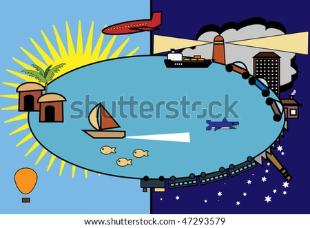 conceptual illustration of the busy world wanted to go on vacation - stock photo