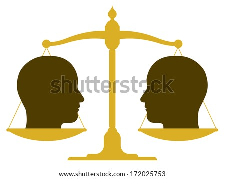 Conceptual illustration of the silhouette of a balanced vintage scale with two heads in profile on the pans depicting weight, value, equality and balance or drawing a comparison - stock photo