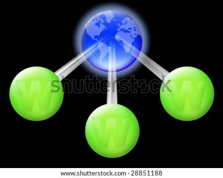 Conceptual illustration of the worldwide web address - stock photo