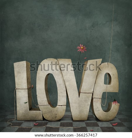 Conceptual illustration or poster from symbol of love - stock photo