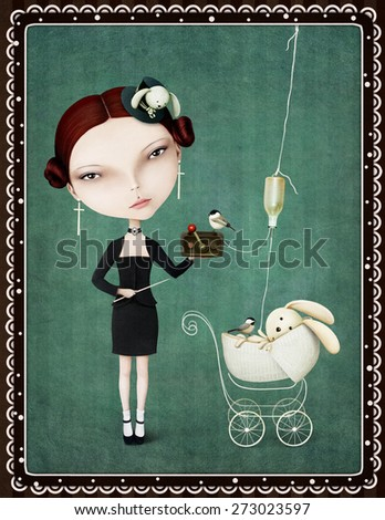 Conceptual illustration or vintage card with girl and bunny, crime and punishment .  - stock photo