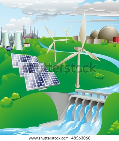 Conceptual illustration showing many different types of power generation, including nuclear, fossil fuel, wind power, photovoltaic cells, and hydro electric water power - stock photo