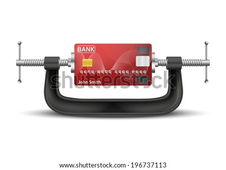 Conceptual illustration symbol of credit card being squeezed in a vice. - stock photo