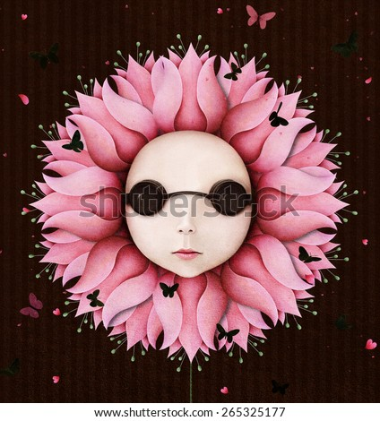 Conceptual illustration with fantasy flower and girl - stock photo