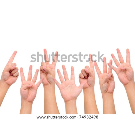 Conceptual image. A set of counting hand signs  isolated on white with a copy space. - stock photo