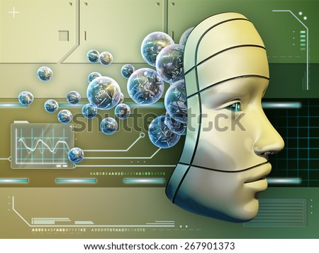 Conceptual image depicting a robot mask and an electronic brain. Digital illustration. - stock photo