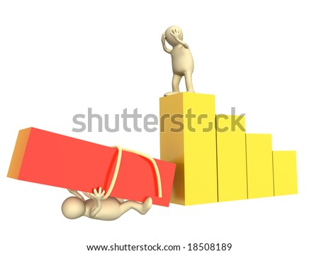 Conceptual image - failure in work of partners - stock photo