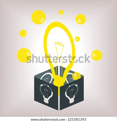 Conceptual image for an idea, with bright yellow light bulb rising out of a dark grey box (vector available) - stock photo