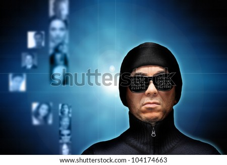 conceptual image for identity theft and hacking personal data - stock photo