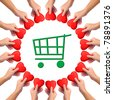 """Conceptual image, giving heart to """"green shopping"""". Hands with heart isolated on white with green shopping cart icon in the middle. - stock photo"""