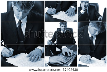 Conceptual image-grid of business photos. Office life. - stock photo