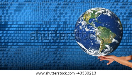 conceptual image of a big globe on hands - stock photo