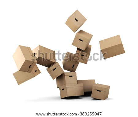 Conceptual image of a cardboard box on a white background. 3d rendering. - stock photo