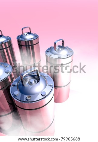 Conceptual image of a cryogenic canisters which would hold in cryogenic suspension human organs - stock photo