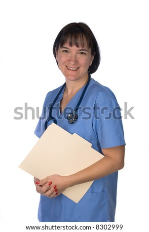 Conceptual image of a doctor relaxing holding a patient's file. Intended for any use where a medical inference is needed. - stock photo