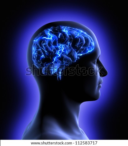 Conceptual image of a man from side profile showing brain and brain activity. - stock photo