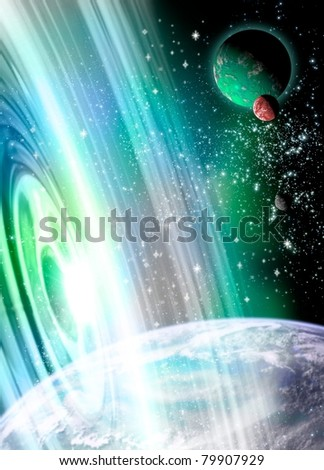 conceptual image of a time portal, gate, opening up in another part of our galaxy. A means of traveling from one destination and time to another. Based on some of Einstein's space -time equations. - stock photo