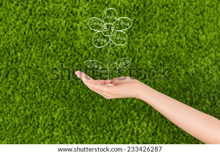 Conceptual image of a woman hand growing new ideas and a Big idea flourish, isolated on green background.Conceptual idea, Team. - stock photo