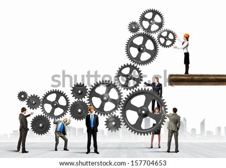 Conceptual image of businessteam working cohesively. Interaction and unity - stock photo