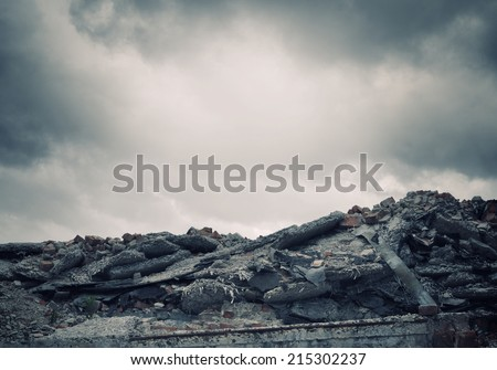 Conceptual image of construction ruins and garbage - stock photo